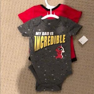 """NWT """"Incredibles"""" onesie, 2-pack, size 3-6 months"""